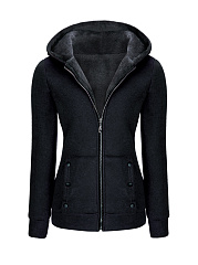 Hooded Zips Decorative Button Fleece Lined Coat