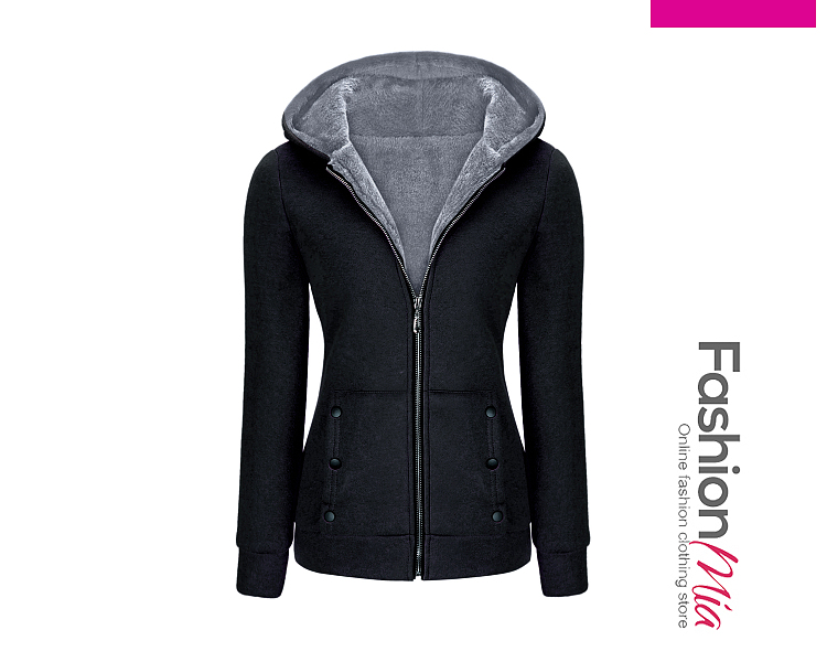 gender:women, hooded:no, thickness:regular, brand_name:fashionmia, style:elegant,fashion, material:blend, collar&neckline:hooded, sleeve:long sleeve, embellishment:patch pocket,zips, more_details:decorative button, pattern_type:plain, occasion:casual, season:winter, package_included:top*1, bustshoulderlength