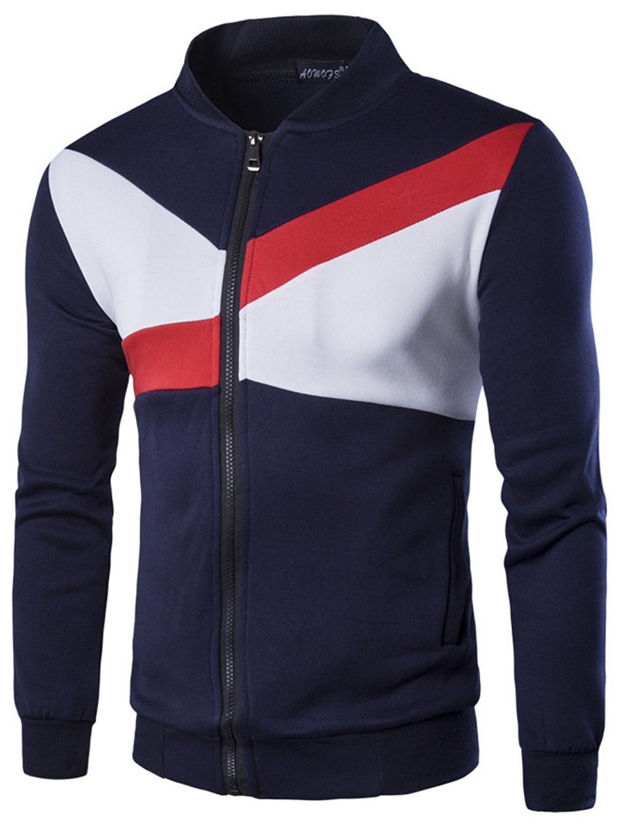 Band Collar Color Block Pocket Men Jacket