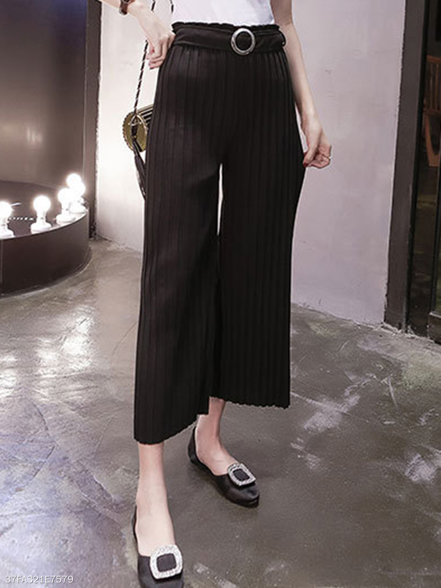 Solid Belt Pleated Wide-Leg Casual Pants