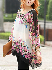 Round Neck See-Through Floral Printed Batwing Sleeve Tunic