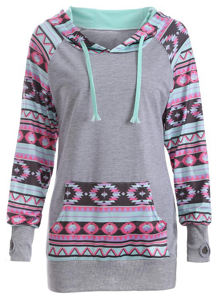 Kangaroo Pocket Printed Striped Hoodie