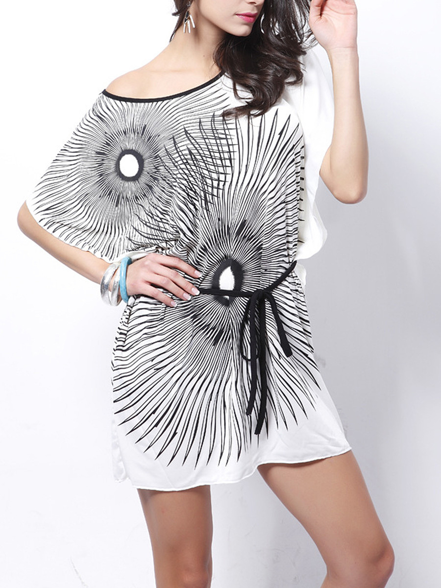 One Shoulder  Belt  Printed Mini Shift Dress