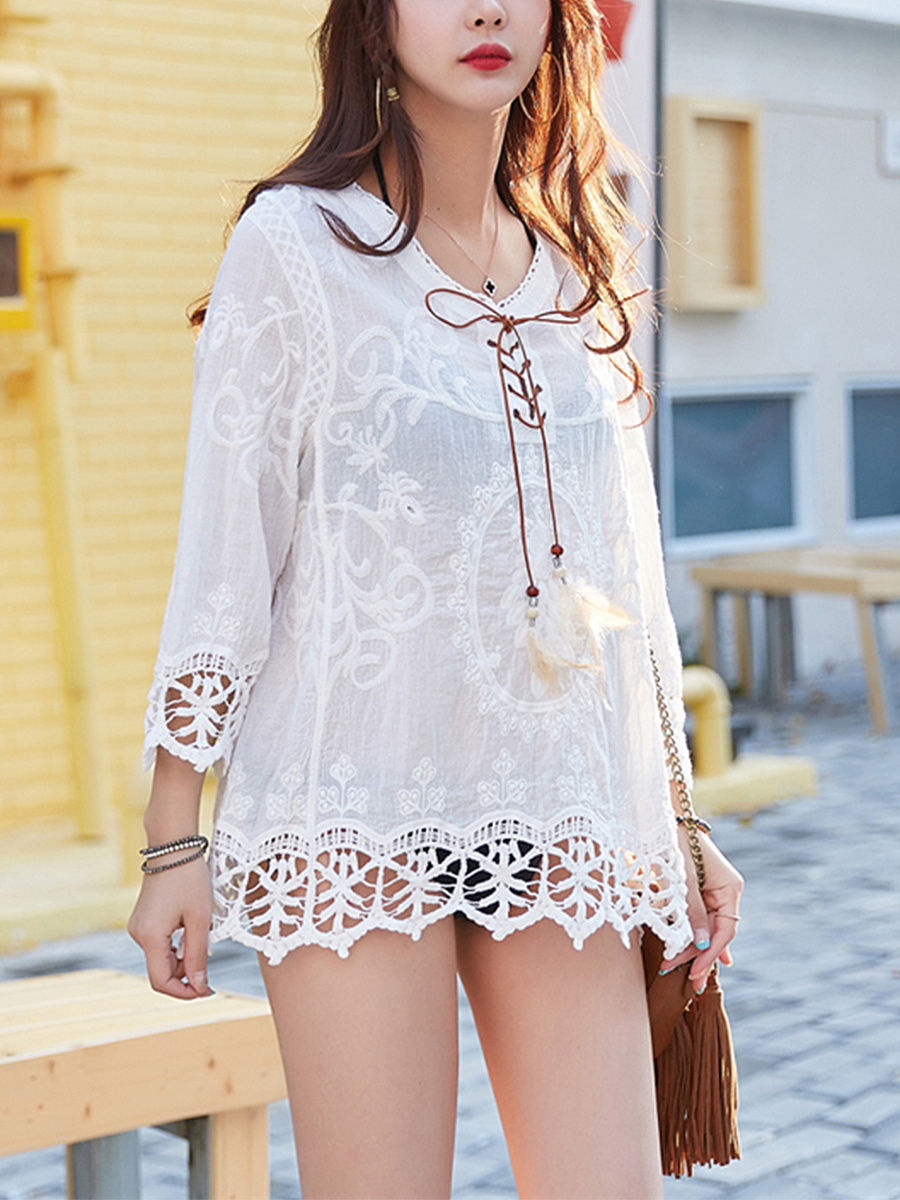 V-Neck Lace-Up Embroidery Hollow Out Tunic