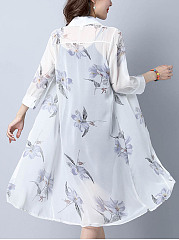 See-Through Single Breasted Floral Longline Kimono