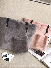 New Faux Fur Two Pieces Soft Hand Bag