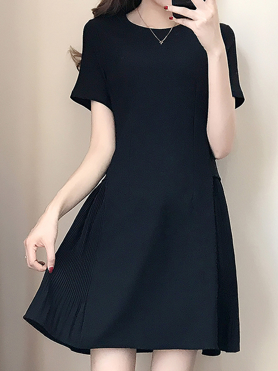 Round Neck Solid Skater Dress In Black
