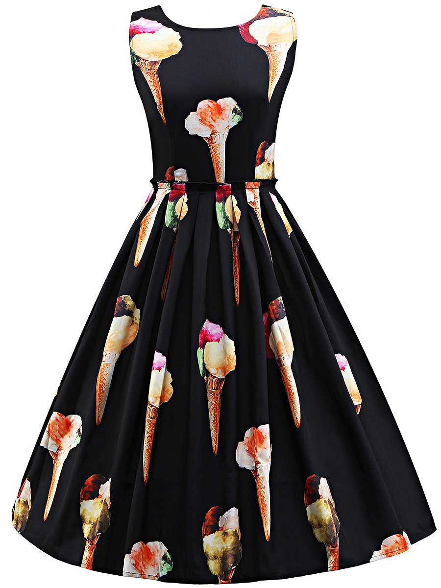 Round Neck Ice Cream Printed Midi Skater Dress