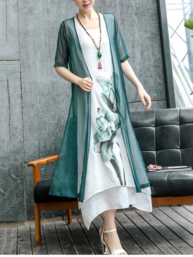 Image of Fashionmia Casual Lotus Printed Two-Piece Maxi Dress
