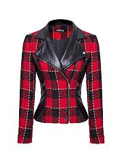 Lapel-Plaid-Patchwork-Zip-Jacket