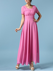 Round Neck  Ruched  Plain Maxi Dress