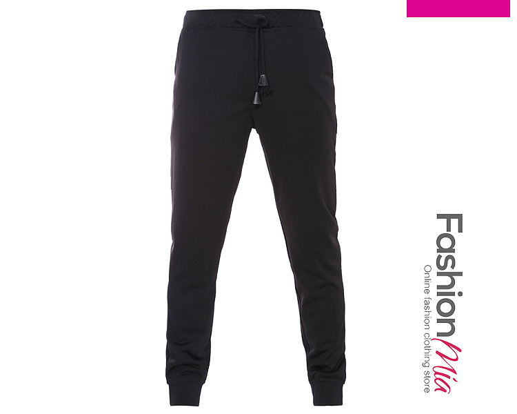 Elastic Waist  Plain  Slim-Leg  Mid-Rise Mens Casual Pants