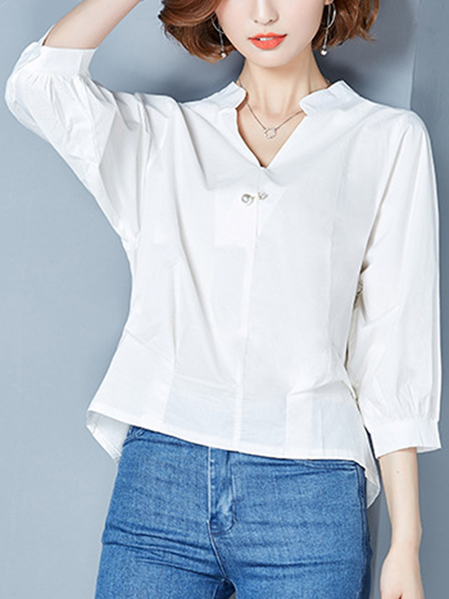 V-Neck Plain High-Low Long Sleeve T-Shirt