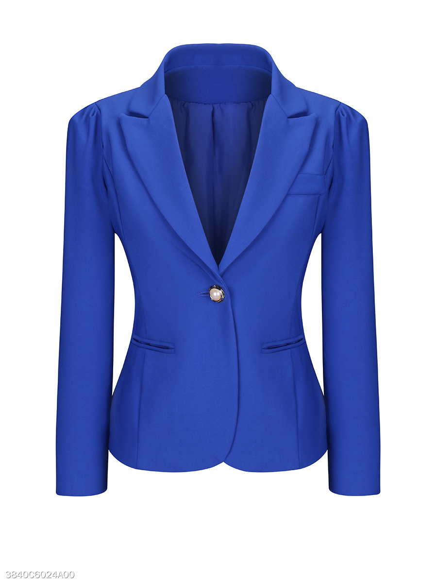 Single Button Notch Lapel Plain  Puff Sleeve Blazer