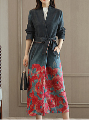 Collarless Floral Printed Pocket Belt Wrap Trench Coat