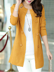 Collarless-Single-Breasted-Plain-Cardigans