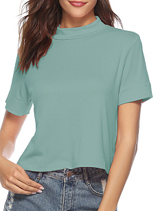 Autumn Spring  Cotton  Women  High Neck  Plain Short Sleeve T-Shirts