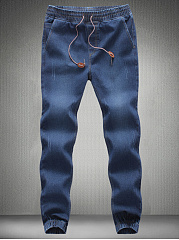 Mens-Elastic-Waist-Light-Wash-Jogger-Jeans