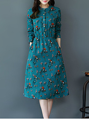 Round Neck  Patch Pocket  Floral Printed Shift Dress