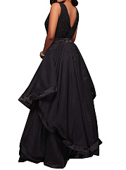 Round Neck Flounce Patchwork Plain Evening Dress