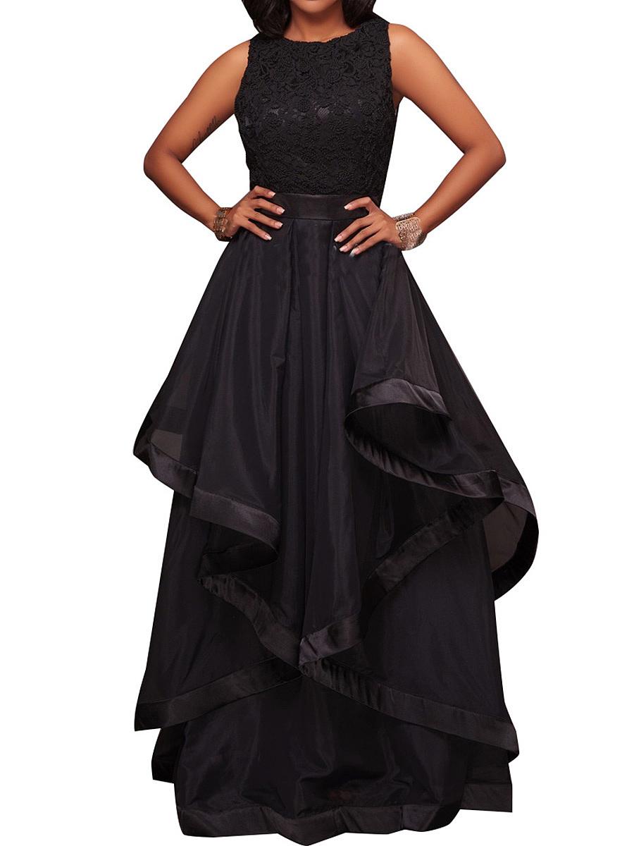 Round Neck Flounce Patchwork Plain Evening Dress