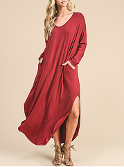 V-Neck Side Slit Curved Hem Plain Pocket Maxi Dress