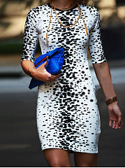Round Neck Printed Half Sleeve Bodycon Dress