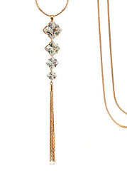 Rhinestone Cube Tassel Necklace