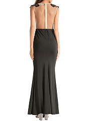 Round Neck See-Through Patchwork Mermaid Evening Dress