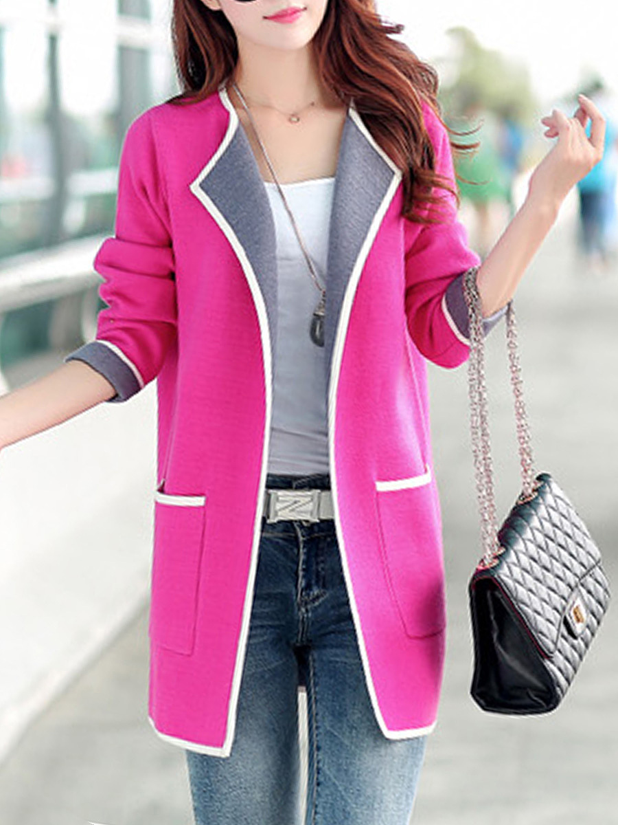 Lapel Patch Pocket Color Block Coat