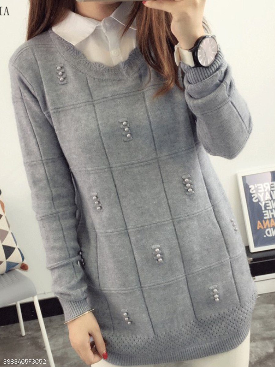 Button Down Collar  Patchwork  Patchwork Knit Pullover