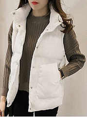 Fold-Over Collar  Slit Pocket  Decorative Hardware  Plain  Long Sleeve Waistcoat