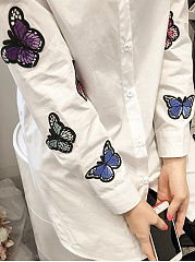 Autumn Spring  Spandex  Women  Turn Down Collar  Embroidery  Long Sleeve Blouses