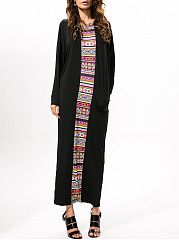 Round Neck Sack Printed Maxi Dress