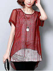 Spring Summer  Polyester  Women  Round Neck  Asymmetric Hem See-Through  Short Sleeve Blouses
