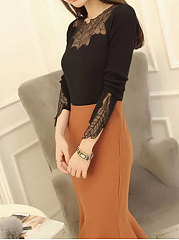 Round Neck  Decorative Lace Patchwork  Plain Pullover