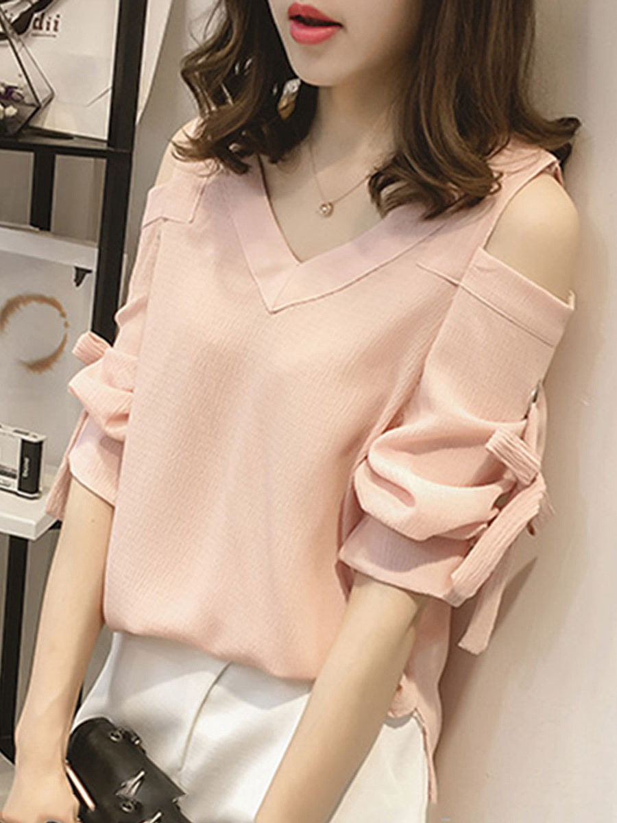 Open Shoulder  Plain Blouses