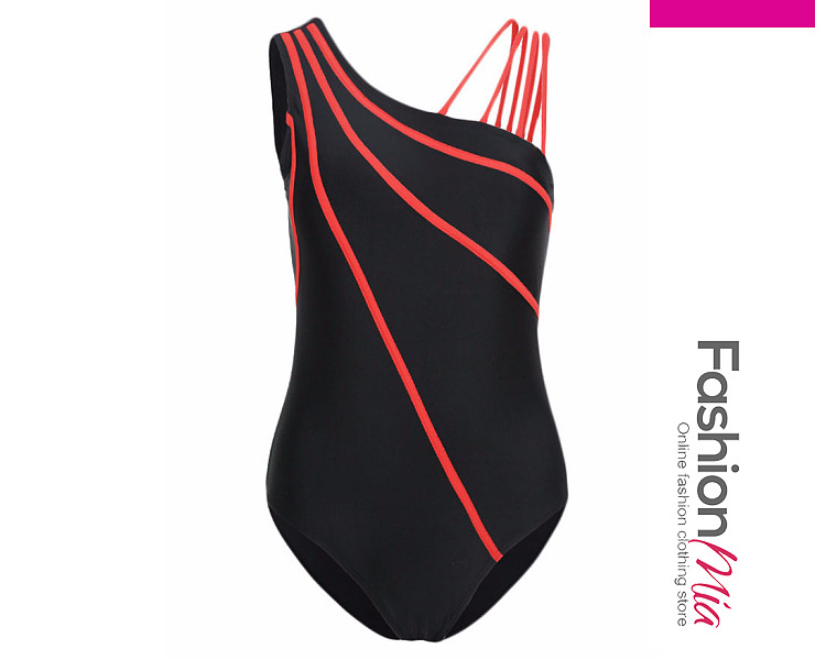 Asymmetric Neck  Color Block Plain One Piece Swimwear