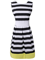 Round Neck Inverted Pleat Color Block Striped Skater Dress