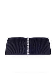 Plain Diamante Pleated Two Way Clutch