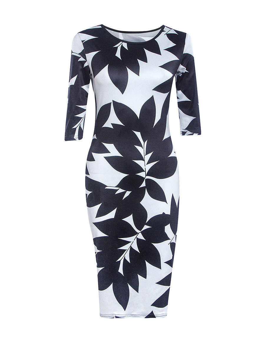 Color Block Leaf Printed Round Neck Bodycon Dress