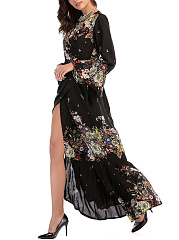 Deep V-Neck High Slit Floral Printed Maxi Dress