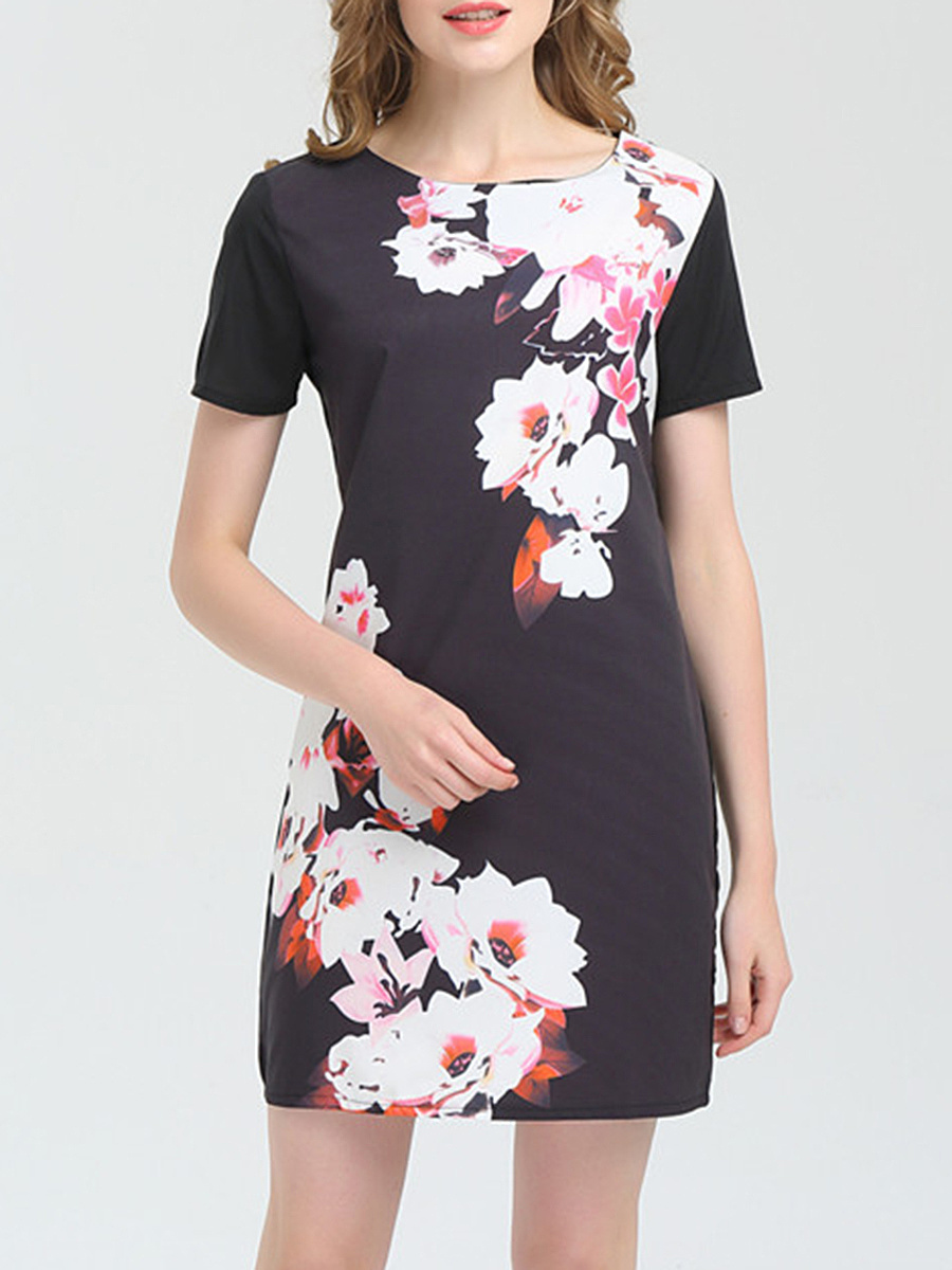 Round Neck Modern Floral Printed Shift Dress