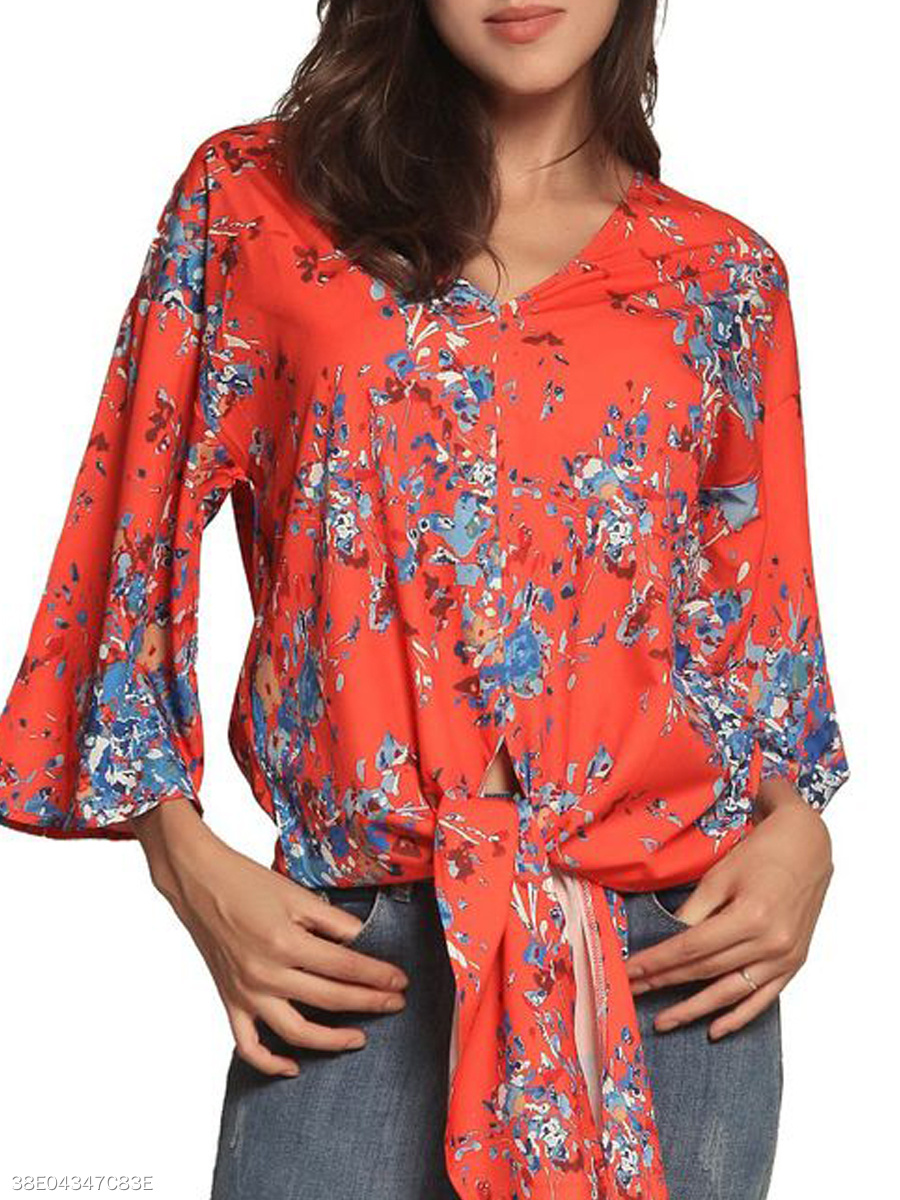 Autumn Spring  Polyester  Women  V-Neck  Floral  Bell Sleeve  Three-Quarter Sleeve Blouses