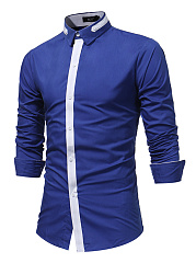 Trendy Long Sleeve Color Block Men Shirts