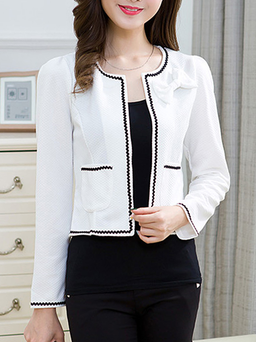Bow Contrast Trim Patch Pocket Blazer