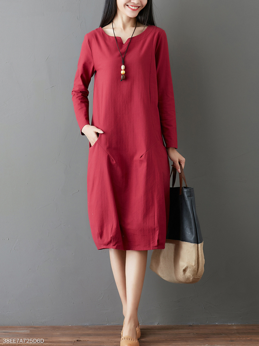 Round Neck Plain Pocket Shift Dress