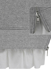 Hooded  Drawstring Patchwork Zips  Plain  Long Sleeve Hoodies