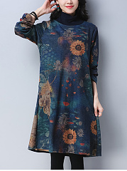 High Neck Pocket Printed Shift Dress