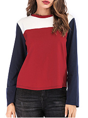 Autumn Spring Winter  Women  Color Block Long Sleeve T-Shirts